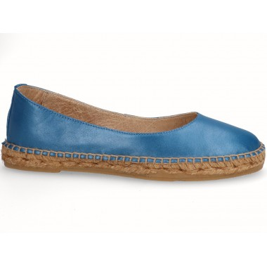 Leather jute flat ballerina espadrille blue