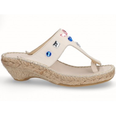 Jute espadrille toe-post sandal ice beige with beads