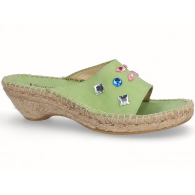 Jute espadrille sandal green with beads