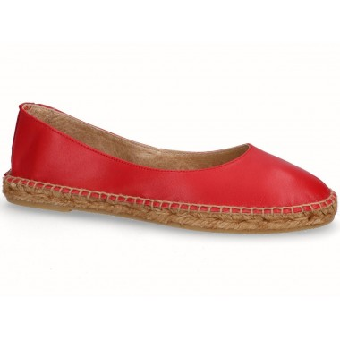 Leather jute flat ballerina espadrille red