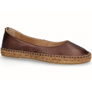 Leather jute flat ballerina espadrille brown