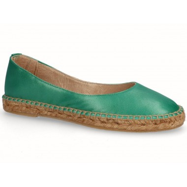 Leather jute flat ballerina espadrille green