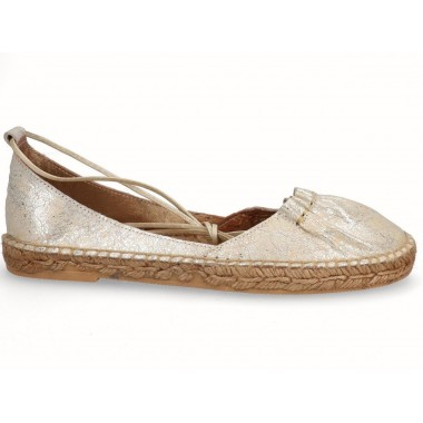 Leather jute flat ballerina espadrille silver with laces