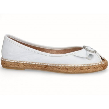 Leather jute flat ballerina espadrille white with buckle