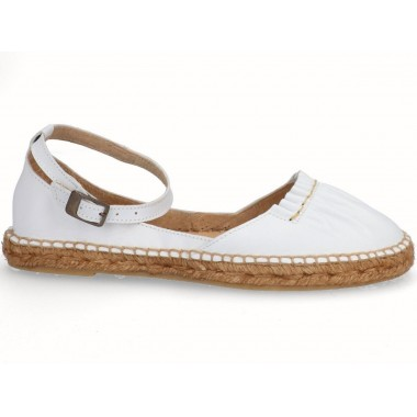 Leather jute flat espadrille white