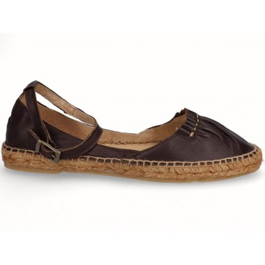 Leather jute flat espadrille brown