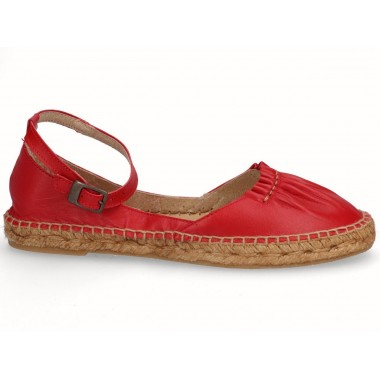 Leather jute flat espadrille red