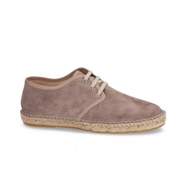 Men's split leather jute espadrille with laces taupe brown
