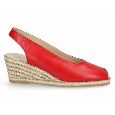 Leather gold raffia wedge espadrille red