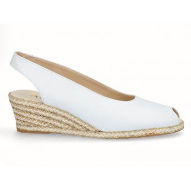 Leather gold raffia wedge espadrille white