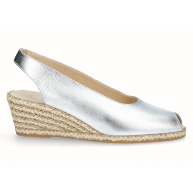 Leather gold raffia wedge espadrille silver