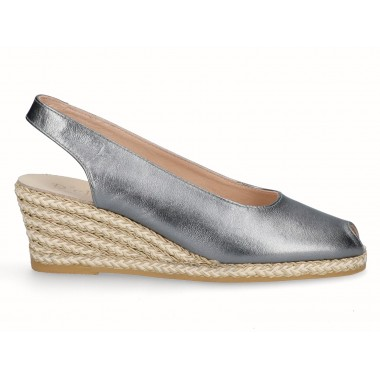 Leather gold raffia wedge espadrille old silver