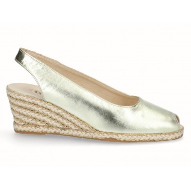 Leather esparto jute wedge espadrille gold