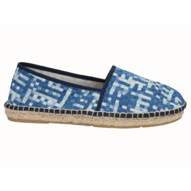 Men's jute and braided fabric flat espadrille in shades of blue