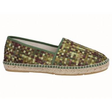 Men's jute and braided fabric flat espadrille in shades of green