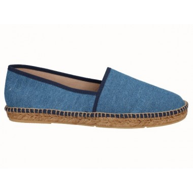 Men's jute flat espadrille denim blue