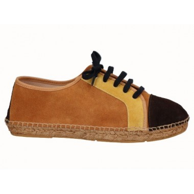 Split leather men's laced jute espadrille brown, mustard and tan