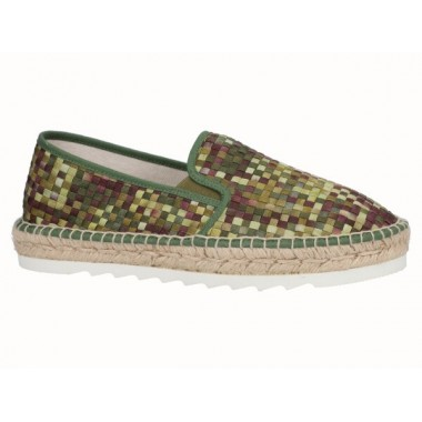 Men's braided fabric jute and EVA flat espadrille in shades of green