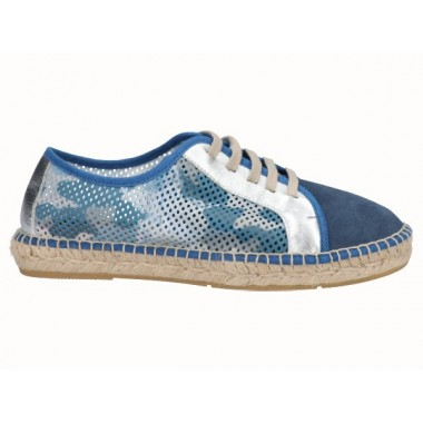 Men's laced jute espadrille in shades of blue