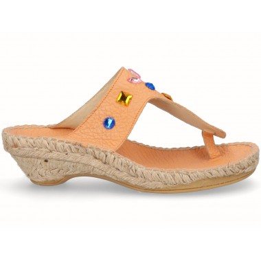 Jute toe-post espadrille sandal orange with beads