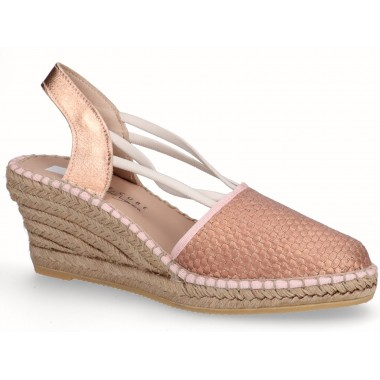 Decorative esparto jute Valencian wedge espadrille with elastic pink