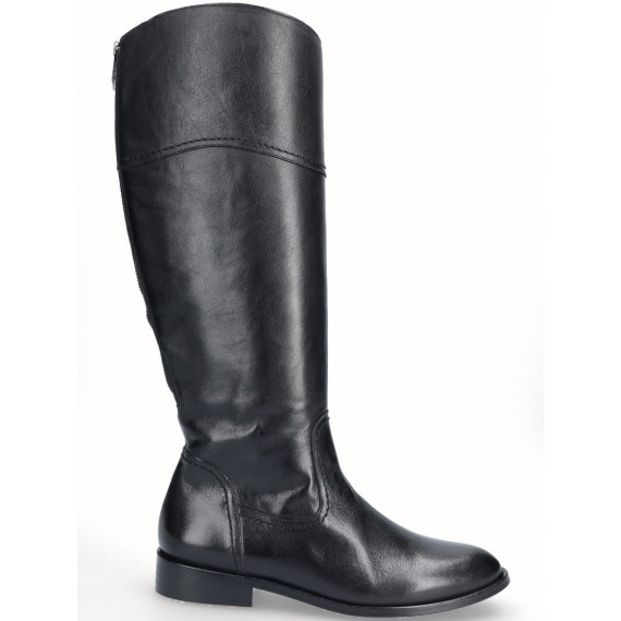 Black Leather Flat High Boot