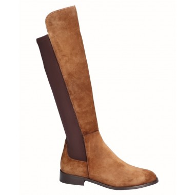 High Flat Split Leather Boot