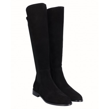 High Flat Black Split Boot