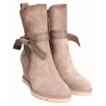 Wedge Ankle Boots Zipper Beige Coco
