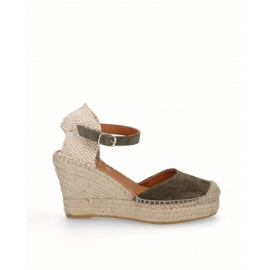 Leather double esparto jute high wedge espadrille military khaki green