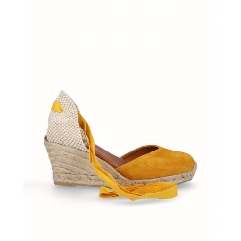 Alpargata valenciana cintas cuña yute piel amarillo mostaza