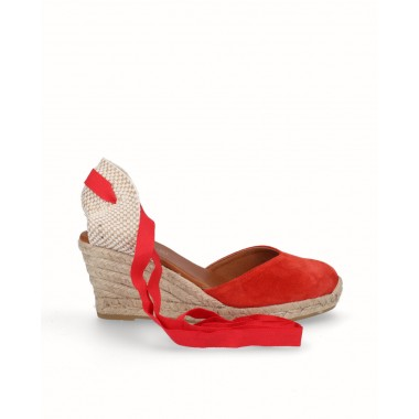 Valencian espadrille wedge ribbons jute red leather