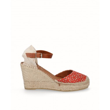 Decorative fabric jute high wedge espadrille red