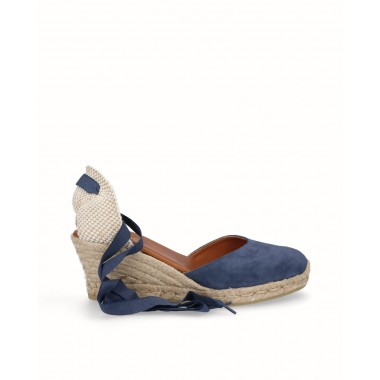 Valencian espadrille wedge ribbons jute leather navy blue
