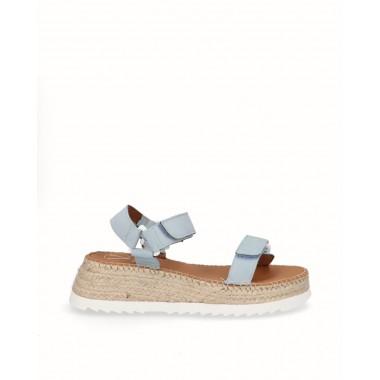 Sky blue nubuck sport sandal espadrille