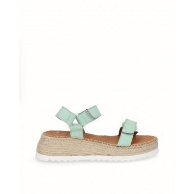 Mint green nubuck sport sandal espadrille