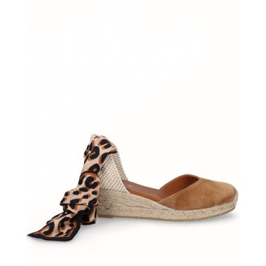 Valencian espadrille with jute vitello leather wedge ankle scarf